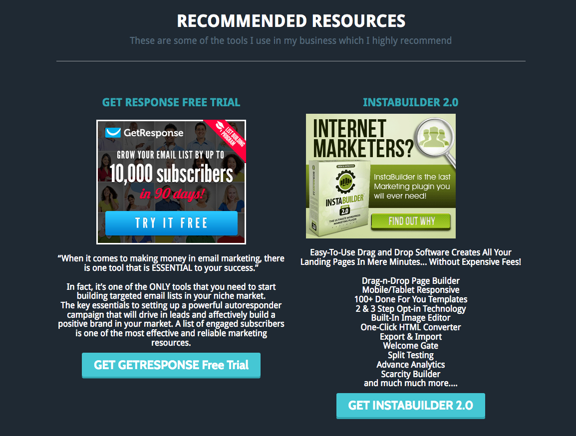 Recommended Resources Get Response Free Trial InstaBuilder 2